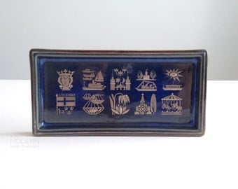 Gustavsberg Sweden Sven Jonson Lagun Blue Rectangular Silver Inlay Pin Dish Tray