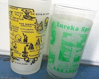 Vintage Souvenir State Glass, ALABAMA Souvenir Glass, ARKANSAS Souvenir Glass, Frosted Glass, Vintage Drinking Glass, Choice
