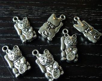 Destash (8) Maneki Neko Lucky Cat Charms - for pendants, jewelry making, crafts, scrapbooking