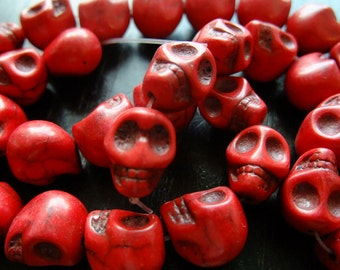 Destash (8) Medium RED Stone Skull Beads, day of the dead - for pendants, bracelets, jewelry making, crafts, scrapbooking