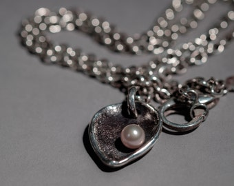 "chunky heart/leaf pendant and chain, silver, fresh water pearl. ""the offering"""