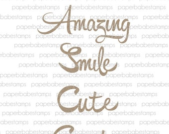 Whimsical Words Fibreboard Substrates Kit - Paperbabe Stamps - Complementary MDF Shapes for mixed media and craft.
