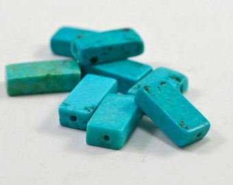Chalk turquoise rectangles, drilled, 13x6x3mm - #1352