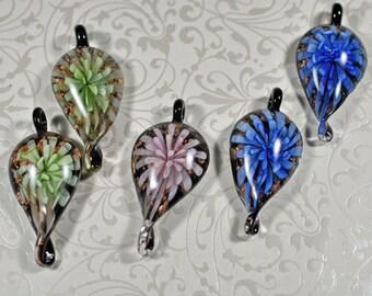 Murano style foil glass leaf pendants, 25x55mm, #800