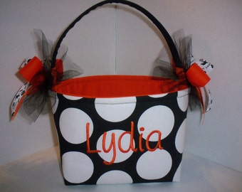 Black White Polka Dot Orange Halloween Trick or Treat Fabric Basket / Bucket / Bag / Tote- Personalized