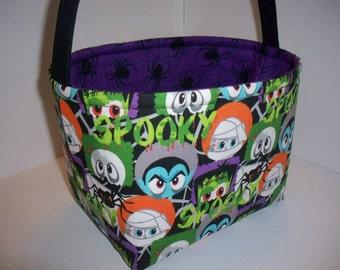 Black Green Purple Orange Frankenstein Mummies Vampire Spiders Halloween Bucket / Basket / Bag / Tote