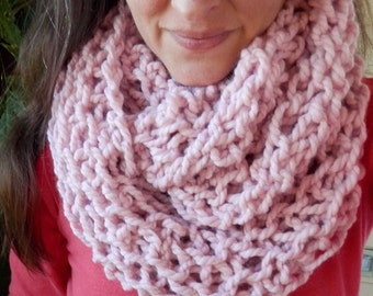 Hand Knit Infinity Cowl Scarf in Pink