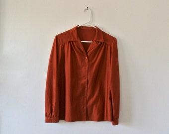 Vintage Burnt Orange Blouse - Long Sleeve Button Down Blouse - Size Small