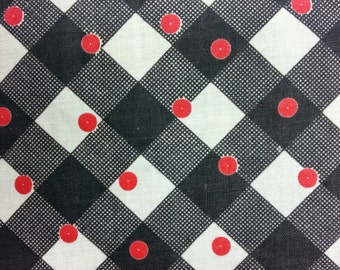 Vintage 1950's Fabric Red Dots and Black Check on White Background  - Half Yard