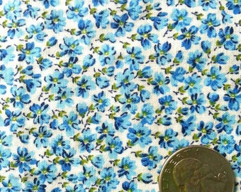 Vintage 1940's Fabric - Calico Blue Daisies on White Background  - Half Yard