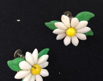 60s Milk glass beaded and vintage plastic beads daisy screw back earrings