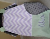 Car Seat Canopy In Premier Prints Lavender Chevron with Gray Minky