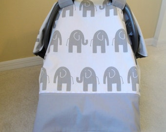 Car Seat Canopy In Premier Prints Elephants with Minky, You Choose Colors