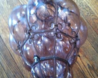 Vintage pendent light hanging blown pink purple glass  iron