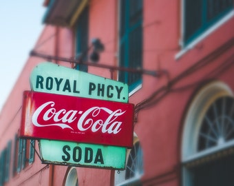 New Orleans Photography, French Quarter, Vintage Sign, Coca Cola Art, Wall Decor, Historical Architecture, Old Sign, Louisiana, Travel,