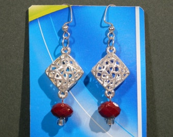 "2"" Long Dangle Earrings Silvertone Diamond Shape Geo Red Faceted Garnet Beads Stylish Pierce Modern Contemporary Party Accessory Gift Idea"