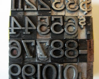Vintage Metal Letterpress Type 27 Pieces Numbers Symbols Complete