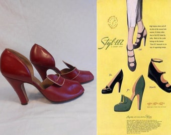 As Fashionable As Paris - Vintage 1940s Fire Engine Red Leather D'Orsay Pumps Heels - 5.5