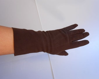 Chocolate Mints - Vintage WW2 1940s Chocolate Brown Kislav Washable Leather Doeskin Gloves - 7 1/2