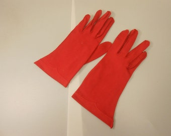 The Red Hand of Romance - Vintage 1950s Van Raalte Bold Red Nylon Just to the Wrist Gloves - 6.5/7