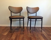 Bronze Copper and Black Chair Brass Tipped Mid Century Mod Kitschy Kitchen Diner Style Chairs, Vintage Metal Chairs, Upholstered Vinyl  Mod