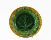 Antique Majolica Plate, Griffin Smith and Hill, Leaf and Basketweave