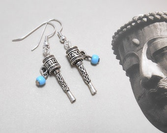 Tibetan Prayer Wheel Earrings