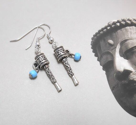 Tibetan Prayer Wheel Earrings - Prayer Wheel Jewelry - Free US Shipping - Dainty Earrings - Charm Earrings