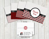 Custom Order for Amy - Black and Red Thank You Cards- set of 25