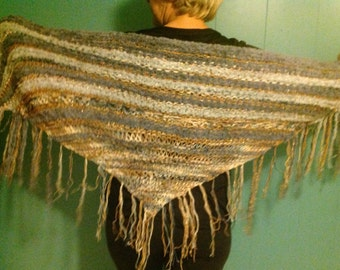 Blue grey and tan combo KNITTED SHAWL
