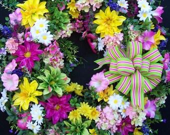 Lg Spring Summer Wreath  SPRING HAS SPRUNG  Door  Porch  Wall Mantel Beach