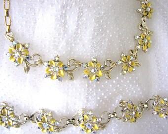 Vintage Necklace Bracelet Set Designer 1950s Rhinestone Enamel Floral from AllieEtCie