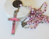 french pink rosary in little box