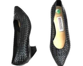 Vintage Bandolino Black Leather Weave Classic Dress Pumps Shoes Sz 6