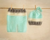 Baby Knit Pants and Hat Set, Baby Boy Turquoise and Gray Pants, Baby Boy l Set, Baby Hat, Photo Prop, Newborn Props, Baby Short, Knit Pants