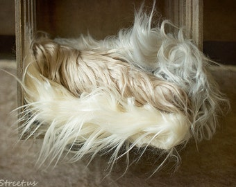 Prop Fur, Ivory, Gray, Brown Faux Fur, Newborn Prop, Baby Mongolian Faux Fur Blanket, Basket Stuffer, Baby photo prop, Newborn Props, RTS