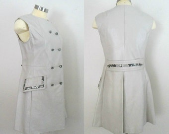 1960s Mod Leather Dress Snakeskin Trim