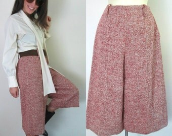 1970s Vintage Gaucho Pants // Fully Lined Wool Tweed