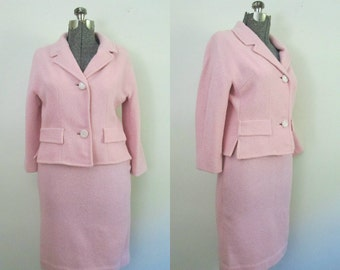 1960s Pink Wool Suit // Wiggle Pencil Skirt Jacket Set Vintage 1960s