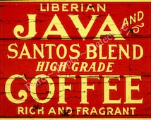 "Antique Coffee Label Printed Home Decor Print, 8"" x 10"", Coffee Shop Kitchen Print Java Print Kitchen Coffee Brew Print Kitchen Decoration"