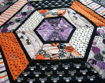 Halloween Table Topper Quilted Hexagonal Quiltsy Handmade FREE U.S. Shipping