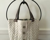 Irish Aran Knit Felted Tote Bag