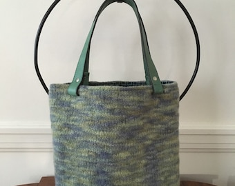 Handknit Colors of the Ocean Felted Tote Bag