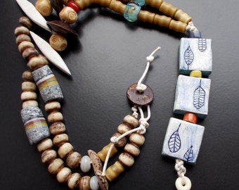 Soul Nurturing Necklace with handcrafted artisan beads, rustic, leaf tiles, African beads, vintage bamboo beads, bone, lampwork, wood, seeds