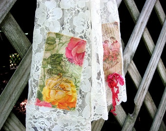 Cream lace scarf with frayed French script embellishment, vintage lace scarf with yellow and pink prints, 14 inches wide by 72 inches long