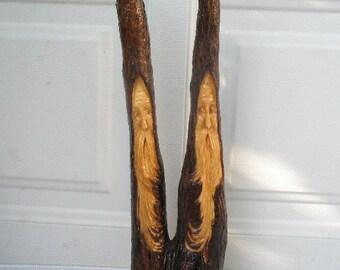 Free Shipping Twins Wood Spirit Santa carving