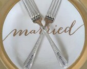Vintage Wedding Silverware Bride Groom Sweethearts' Cake Forks with Wedding Date Table Setting Reception Custom and Personalized for YOU