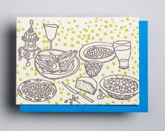 """Letterpress card,  """"Still life (artichoke)"""""""