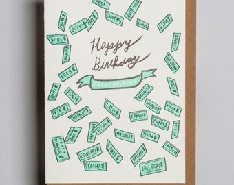 "Letterpress card,  ""Happy Birthday (Treat Yourself)!"""