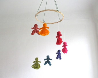 Baby mobile, rainbow, dancing children, girls and boys, baby, colorful, toddler, nursery decor, multicolor, human figures, Waldorf inspired